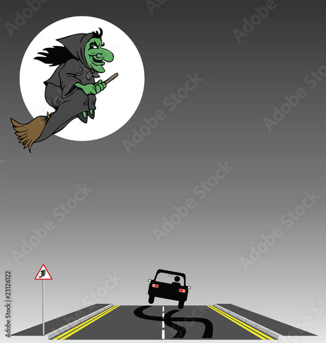 Halloween Witch flying over a frightened motorist