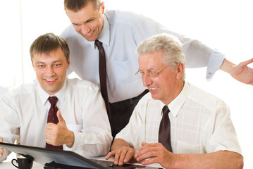 businessmen working at a table