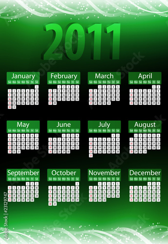 2011 Glowing Neon Green Calendar.