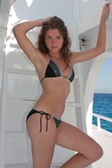 The young woman on the yacht