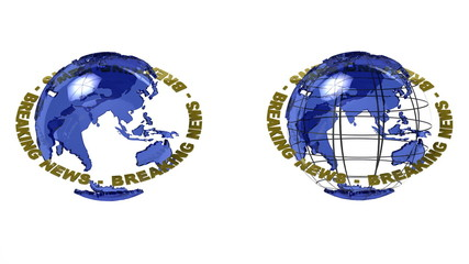 Two versions of a globe with breaking news with alpha matte