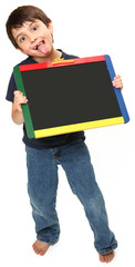 Silly Boy with Chalkboard