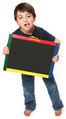 Happy Boy with Chalkboard