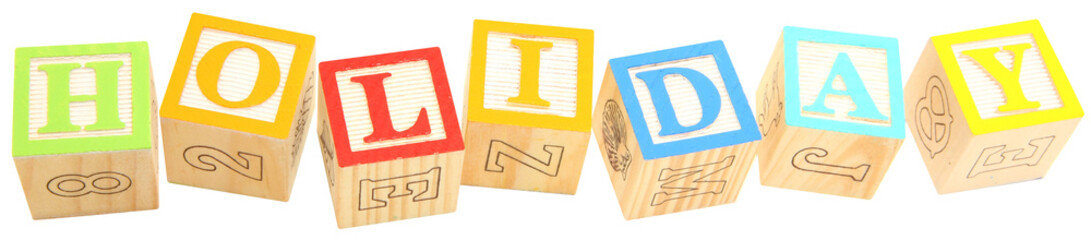 alphabet blocks HOLIDAY
