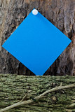 Blue Post-it on Woodpile poster