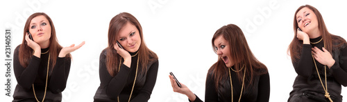 set, woman speaks by phone, isolated.