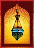 Colorful intricate arabic lantern for eid or ramadan celebration poster