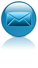 Email, Kontakt,Anfrage Button blue mirror