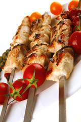 roasted pork kebab on white