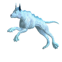 bizarre alien dog.3D rendering with clipping path and shadow ove