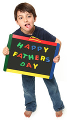 Happy Boy with Happy Father's Day Sign