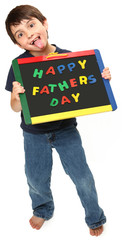 Silly Boy with Happy Fathers Day Sign
