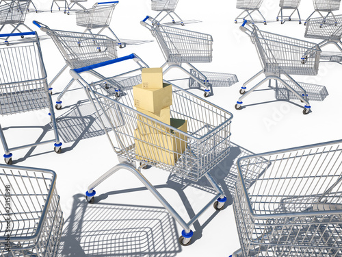 shopping carts 3d cg