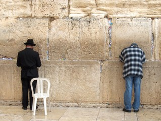 Two Jews Praying at the Kotel - Western Wall