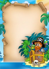 Parchment with pirate on island
