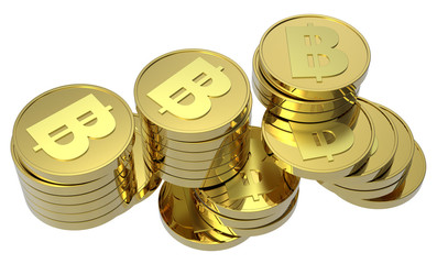 Stacks of gold coins isolated on a white background