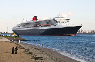 Cruise ship leaving Port of Rotterdam