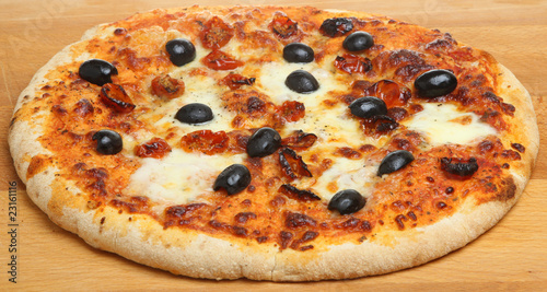 Pizza with Cheese, Tomatoes and Olives