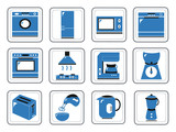Assorted kitchen appliances icons in a vector illustration poster