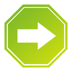 Hexagonal directional arrow sign