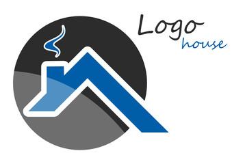 Logo maison toit bleu gris