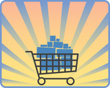 Shopping cart full of purchasings, vector