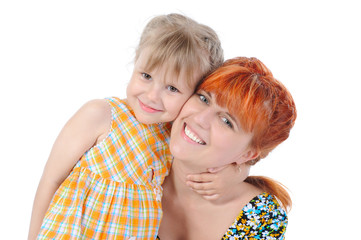 Daughter hugging her mother.