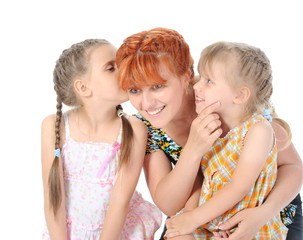 Happy Mother talking with her daughters.