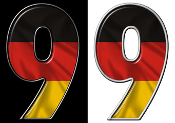 Number 9 showing German flag
