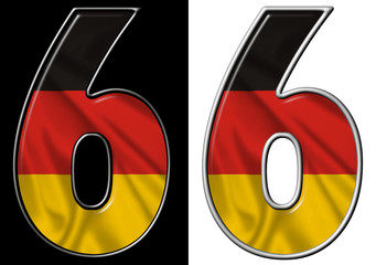 Number 6 showing German flag