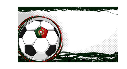 Soccer ball banner with Portuguese flag, grunge paint