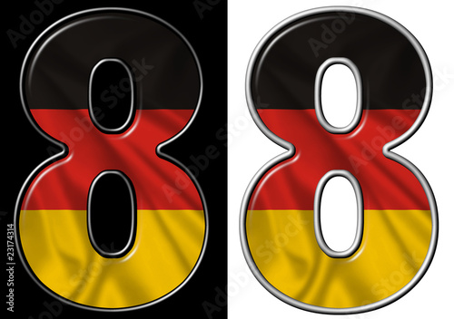 Number 8 showing German flag