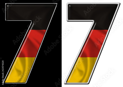Number 7 showing German flag