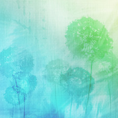 grunge background with dandelions