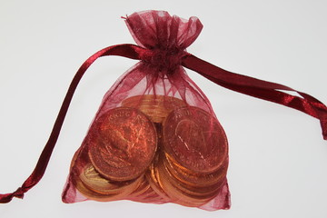 Säckchen mit Gold Münzen