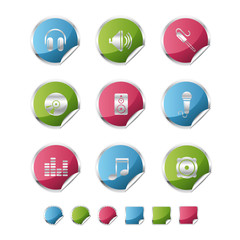 audio metalic sticker icons