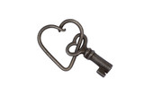 Old skeleton key on a metal heart key or key chain isolated
