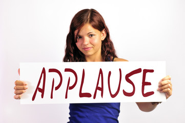 Girl Holding Applause Prompt Board