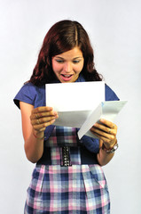 Young Woman Reading a Letter with Delight