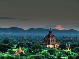 Myanmar, Bagan - Sunset aerial view nb.8