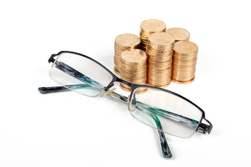 coins and glasses
