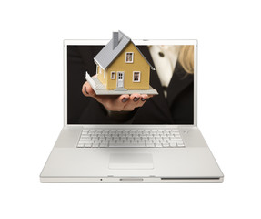 Woman Handing House Through Laptop Screen