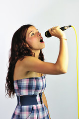 Girl Singing with Head Tilted Back