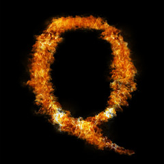 Flame in shape of letter Q
