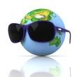 Globe is in dark eyeglasses