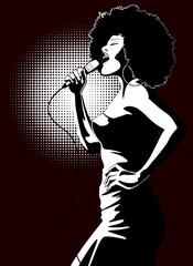 jazz singer on black background
