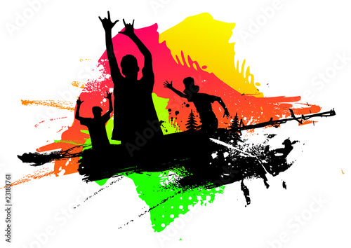 Happy people in a colored abstract background