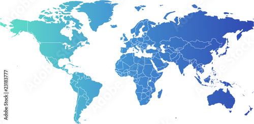 Staande foto Wereldkaart Weltkarte, world map - Miller Cylindrical Projection