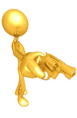 Gold Guy Aiming A Gun