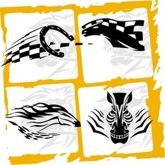 ..Zebra and horseshoe.Racing Horses.